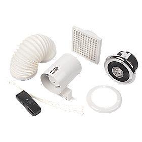 Manrose in line led shower light fan kit bright chrome for Bathroom extractor fan kit