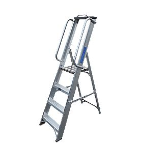 Lyte Heavy Duty Aluminium Platform Ladder & Safety Handrails 4-Tread 1.46m