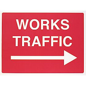 """Works Traffic"" Right Arrow Sign 450 x 600mm"