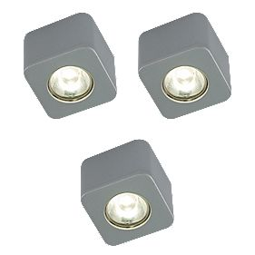 LAP Cube LED Cabinet Downlight Metallic Silver Effect Pack of 3