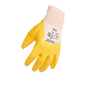 General Handling Nitrile Light Knit Wrist Gloves Yellow X Large