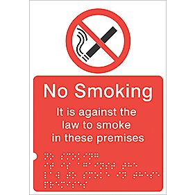 "Braille ""No Smoking On These Premises"" Sign 210 x 148mm"