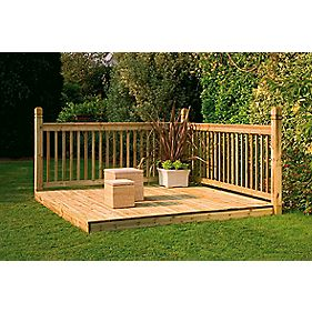 Forest Larchlap Patio Decking Kit Base & Balustrade 2 x 2m