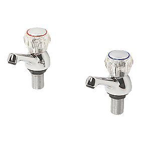 Swirl Contract Acrylic Head Bath Taps Pair Chrome