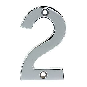 Door Numeral No. 2 Polished Chrome 75mm