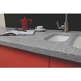 Apollo Slab Tech Sea Mist Worktop with 1½ Bowl White Sink 2500 x 625mm