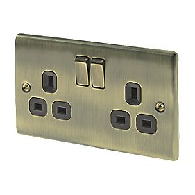 British General 13A 2-Gang DP Switched Plug Socket Antique Brass