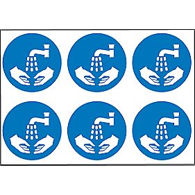 Wash Hands Symbol Adhesive Labels 100mm Pack of 30