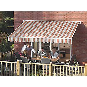 Greenhurst Patio Awning Multi-Stripe Terracotta 2.5 x 2m