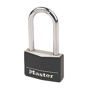 Master Lock Black Aluminium Padlock with Long Shackle 50mm