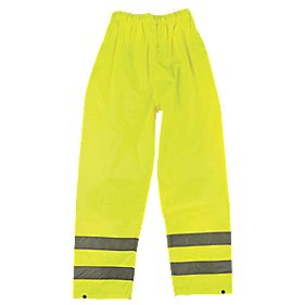 "Hi-Vis Reflective Trousers Elasticated Waist Yellow Large 26-46"" W 30"" L"