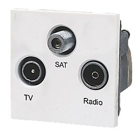 LAP TV, FM & Satellite Screened Triplex Grid Module White