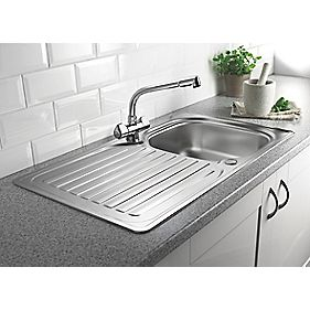 Franke 1 Bowl Kitchen Sink with Tap & Drainer 18 / 10 Stainless Steel 860 x 500mm