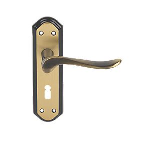 Carlisle Brass Lytham Lever on Backplate Lock Door Handles Pair Flor Bronze