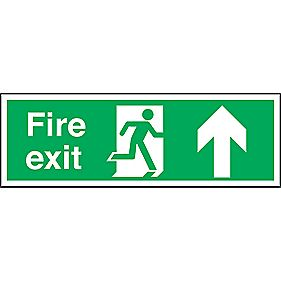 """Fire Exit"" Up Arrow Signs 150 x 450mm Pack of 50"