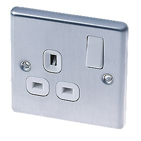 LAP 13A 1-Gang DP Switched Plug Socket Brushed Stainless Steel