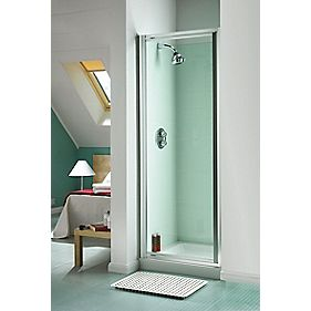 Aqualux Pivot Door Square Silver Effect 760mm