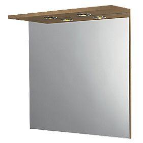 Bathroom Mirror & Light Canopy Oak Effect 600 x 180 x 600mm