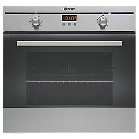 Indesit FIM33 KAIX Single Built-In Elec. Fan Oven & Timer SS 595 x 595mm