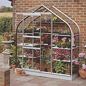"Halls Supreme 62 Aluminium Wall Greenhouse Toughened Glass 6'4"" x 2'4"""