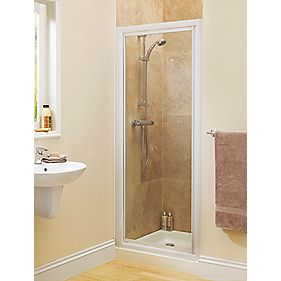 Swirl Glass Pivot Shower Enclosure Door White 800mm