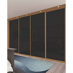 Sliding Wardrobe Doors Oak Effect Frame Black Glass Panel 4-Dr 2943x2330mm