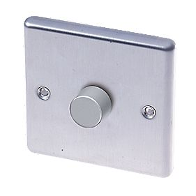 LAP 1-Gang 2-Way Push Dimmer Switch 400W/400VA Brushed Stainless Steel
