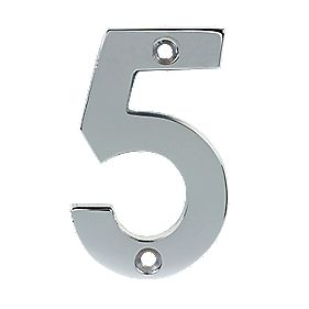 Door Numeral No. 5 Polished Chrome 75mm