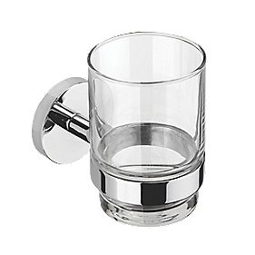 Croydex Flexi-Fix Pendle Tumbler & Holder Chrome 67 x 105 x 95mm