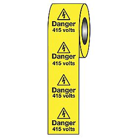 """Danger 415V"" Adhesive Labels 50 x 50mm"