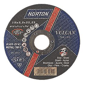 Norton Vulcan Metal Cutting Discs 115 x 2.5 x 22.2mm Bore Pack of 25