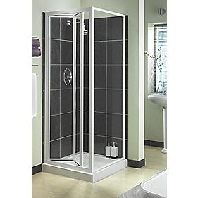 Aqualux Shower Enclosure Bi-Fold Door Square White 760 x 1850mm