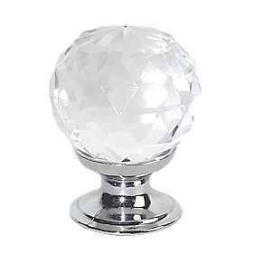 Traditional Knob Faceted Glass / Polished Chrome 30mm Pack of 2