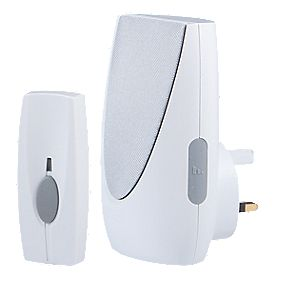 Wireless 100m Plug-In Door Chime with Li-Ion Powered Bell Push White