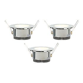 LAP Zephyr Fixed Round LED Downlight Chrome 1.92W 240V Pack of 3