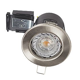 Robus Fixed Fire Rated Mains Voltage Downlight 4000K Brushed Chrome 240V