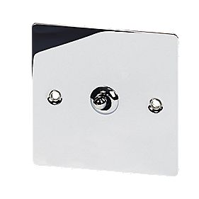 Volex 1-Gang 2-Way Toggle Switch Polished Chrome Flat Plate