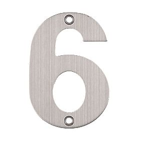 Eclipse Door Numeral No. 6 Satin Stainless Steel 102mm