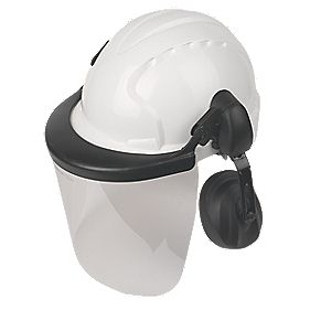 JSP EVO3 Comfort Machinery Helmet with Ear Defenders and Visor White