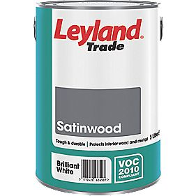 Leyland Satinwood Gloss Paint Brilliant White 5Ltr