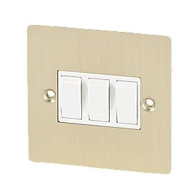 Volex 10A 3-Gang 2-Way Switch Wht Ins Brushed Brass Flt Plt