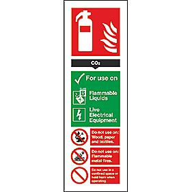 CO² Extinguisher ID Signs 280 x 90mm Pack of 100