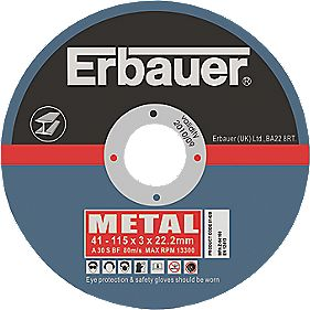Erbauer Metal Cutting Discs 115 x 3 x 22.2mm Pack of 5