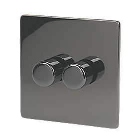 LAP 2-Gang 2-Way Dimmer Switch Mains/Low Voltage 250W Black Nickel