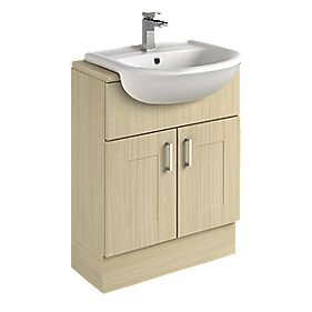 Bathroom Vanity Unit & Basin Oak Shaker 600 x 300 x 81mm