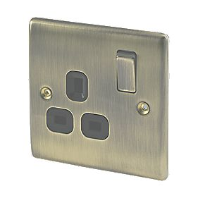 British General 13A 1-Gang DP Switched Plug Socket Antique Brass