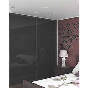 Sliding Wardrobe Doors Black Frame Black Glass Panel 2-Door 1485 x 2330mm