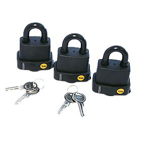 Yale Weatherproof Keyed Alike Padlock Steel 53mm Pack of 3