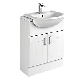 Bathroom Vanity Unit & Basin White Shaker 600 x 300 x 81mm