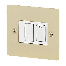Volex 13A Switched FCU Wht Ins Brushed Brass Flt Plt